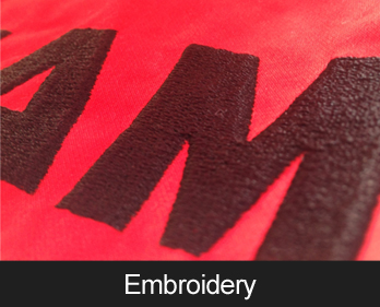 Embroidery - Clothing customisation with thread for a really high quality finish. Great for uniforms, workwear and other custom clothing