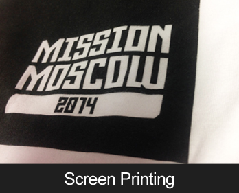 Screen Printing, great for large orders of custom printed t-shirts and other clothing