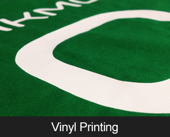 Vinyl transfer printing - great for small quantities, individual name printing and numbers
